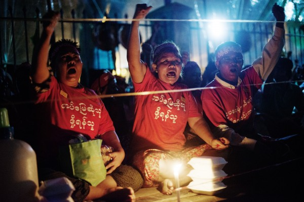 Demonstration i Rangoon 2013. Foto: Sara Kollberg