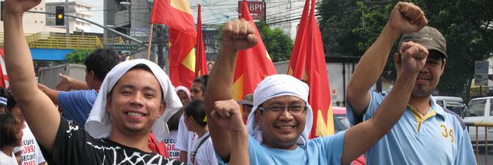 Första maj-demonstration i Manila, Filippinerna, 2010. Foto: Palmecentret.