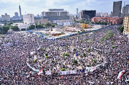 Demonstrationer på Tahirtorget 2011. Foto: Jonathan Rashad