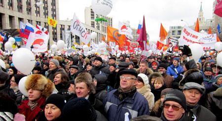På bilden syns en demonstration i Moskva i december 2011. Foto: Bogomolov PL