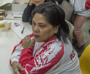 Sheila Estrada på fackmöte i Hongkong