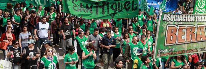 Facklig demonstration i Argentina. Foto: CSA/TUCA.
